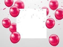 roze ballonnen en witte vierkante ruimte voor tekst, viering achtergrond vector
