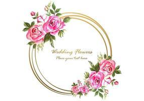Huwelijksverjaardag decoratief met cirkelvormig bloemenframe voor groetkaart vector
