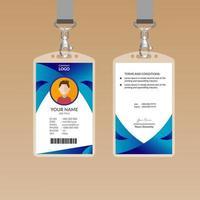 Gebogen blauwe ID-kaart ontwerpsjabloon