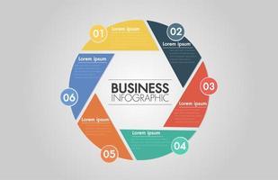 6 stappen cirkel pijl infographic. Sjabloon voor fietsen diagram, grafiek