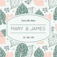 Bloemen blad bruiloft uitnodigingskaart en frame met ruimte voor tekst