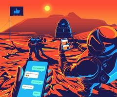 Astronauten landden op mars en speel sociaal netwerk en nemen een selfie vector