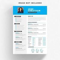Wit CV-sjabloon met blauwe details