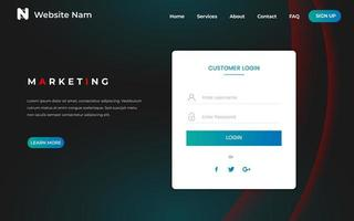 Mineral Blue Website-startpagina met gebogen ontwerp vector