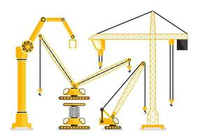 Set van bouwmachine gele kraan in plat ontwerp vector
