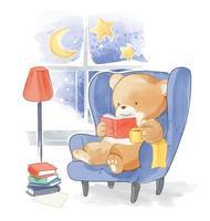 schattige beer lezen van een boek over sofa illustation vector