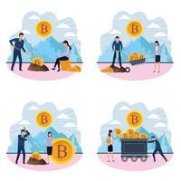 Set van digitale mijnbouw bitcoin-ontwerpen vector