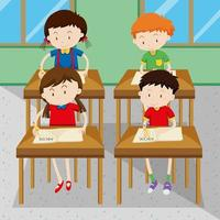 Studenten schrijven en leren op school vector