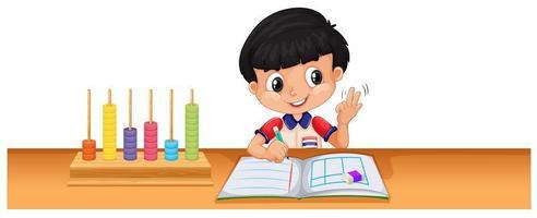 Jongen die wiskunde op bureau berekent