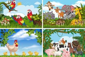 Verschillende dieren in natuurtaferelen vector