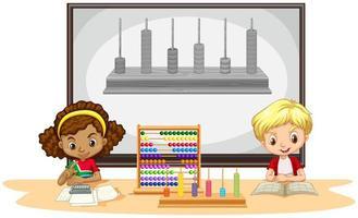 Studenten leren wiskunde in de klas vector