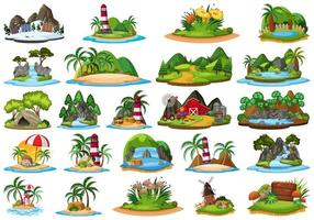 Set van verschillende planten en landschappen