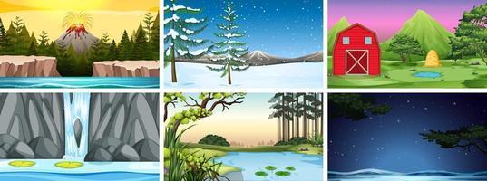 Set scènes in de natuur met vulkaan en sneeuw vector