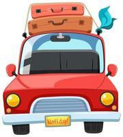Een reiswagen en bagage bovenop