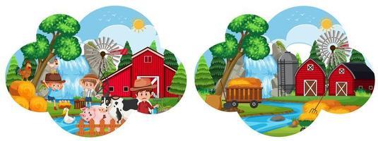 Een set van boerderij landschap vector