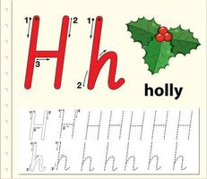 Letter H tracing alfabet werkbladen vector