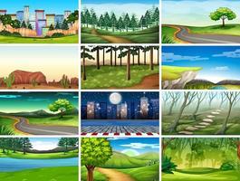 Aantal scènes in de natuur vector