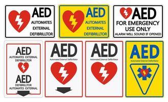 Set symbool AED symbool teken geïsoleerd vector