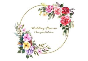 Bloemenlijst met bruiloft kaart achtergrond vector