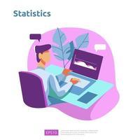 Grafieken en statistieken analyseconcept