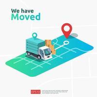 nieuwe locatie aankondiging bedrijfswinkel vector