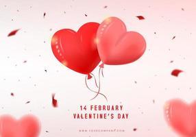 Valentijnsdag kaart met hart ballonnen