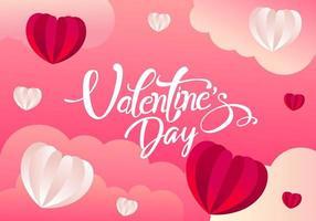 Valentijnsdag kaart met papieren harten en wolken