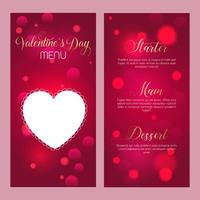 Elegante Valentijnsdag menusjabloon