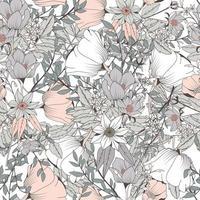 Naadloos Hand Getrokken Botanisch Patroon