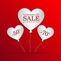 Valentijnsdag verkoop met hart ballonnen