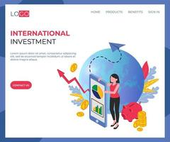 Internationale investering isometrische bestemmingspagina