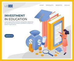 Investering in onderwijs isometrisch ontwerp vector