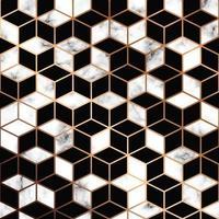 Vector marmeren textuur, naadloos patroonontwerp met gouden geometrische lijnen en kubussen