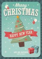 Merry Christmas card met kerstboom en cadeautjes
