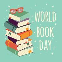 De dag van het wereldboek, stapel boeken met glazen op muntachtergrond