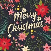 Typografische vrolijk kerstfeest met florale elementen