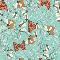 traditioneel naadloos patroon met Monarchvlinders vector