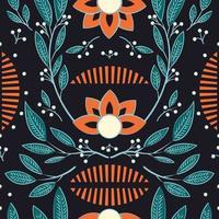 Naadloos patroon met hand getrokken bloemen en bloemenelementen
