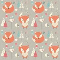 Naadloos patroon met schattige kerst baby fox