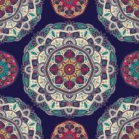 Naadloos patroon met sier bloemen etnische mandala's vector