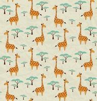 Naadloos patroon met giraffen en bomen