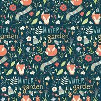 Naadloos patroon met bloemen, vossen, sjaal, muts en wanten
