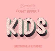 Kinderen gekruiste streeppatroon tekst, bewerkbare tekststijl vector