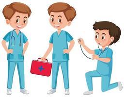 Medisch hulpkarakter op witte achtergrond
