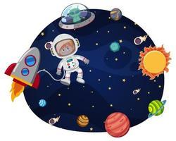Astronaut in ruimte sjabloon vector