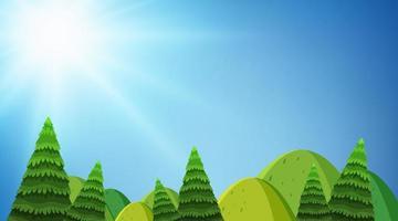Achtergrondontwerp van landschap met heuvels en bomen vector