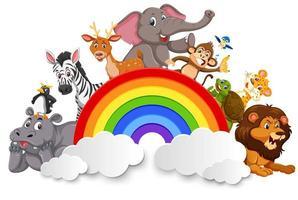 Wilde dieren en regenboog sjabloon