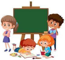 Kinderen en schoolbord sjabloon vector