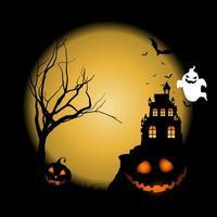 Halloween-achtergrond met pompoenen tegen kasteellandschap