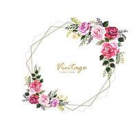 Vintage decoratief bloemenframe met huwelijkskaartontwerp vector